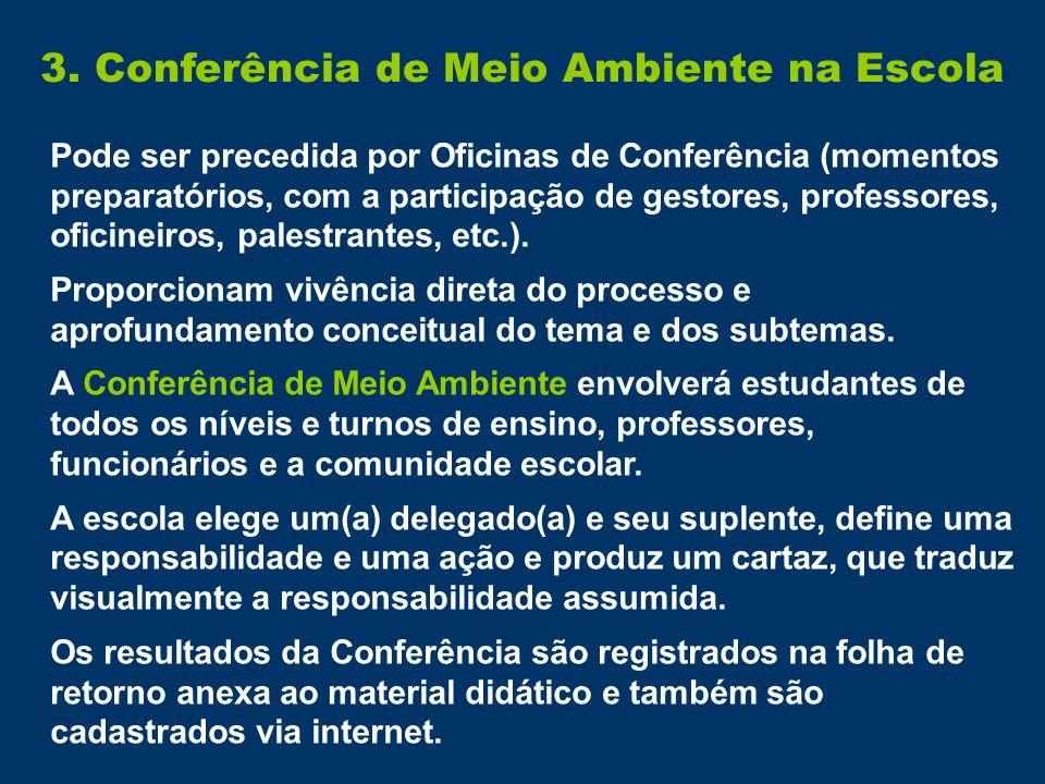 3. Conferência de Meio Ambiente na Escola Pode ser precedida por Oficinas de Conferência (momentos preparatórios, com a participação de gestores, prof