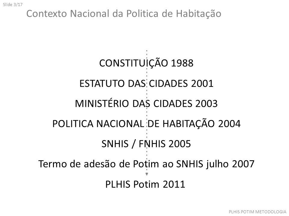 Slide 3/17 Contexto Nacional da Politica de Habitação CONSTITUIÇÃO 1988 ESTATUTO DAS CIDADES 2001 MINISTÉRIO DAS CIDADES 2003 POLITICA NACIONAL DE HABITAÇÃO 2004 SNHIS / FNHIS 2005 Termo de adesão de Potim ao SNHIS julho 2007 PLHIS Potim 2011 PLHIS POTIM METODOLOGIA