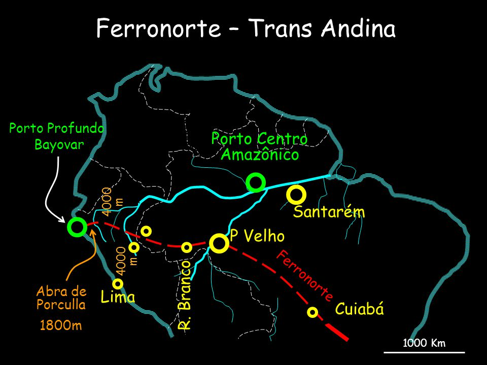 Ferronorte – Trans Andina Bayovar Lima P Velho Ferronorte Porto Profundo Abra de Porculla 1800m 4000 m R. Branco Cuiabá Porto Centro Amazônico Santaré