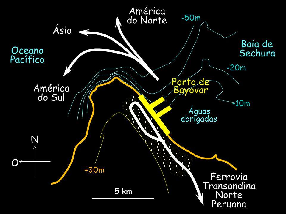 5 km -10m -20m +30m -50m Ferrovia Transandina Norte Peruana Águas abrigadas Oceano Pacífico N O Baia de Sechura Ásia América do Norte América do Sul R
