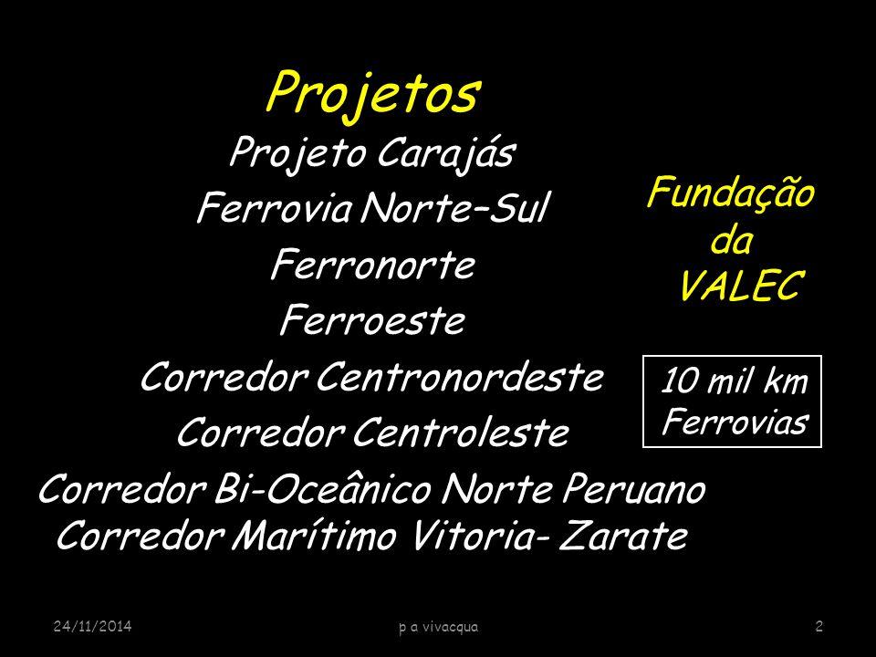 Projetos Projeto Carajás Ferrovia Norte–Sul Ferronorte Ferroeste Corredor Centronordeste Corredor Centroleste Corredor Bi-Oceânico Norte Peruano Corre