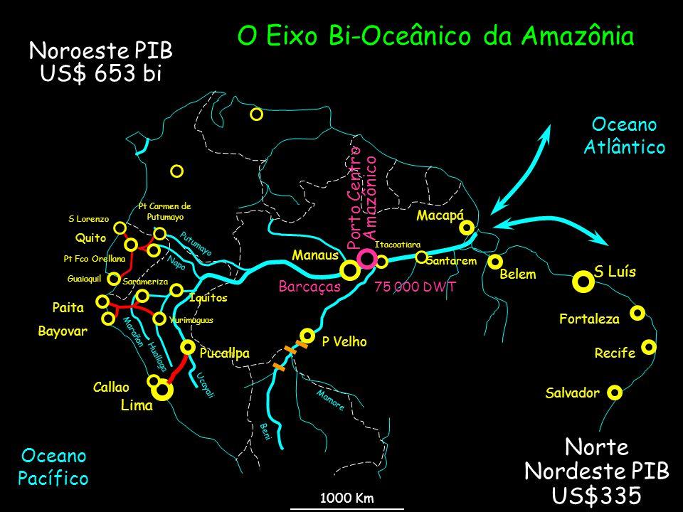 Noroeste PIB US$ 653 bi O Eixo Bi-Oceânico da Amazônia Mamore Beni Ucayali Huallaga Marañon Napo Putumayo Pt Fco Orellana Quito Pt Carmen de Putumayo