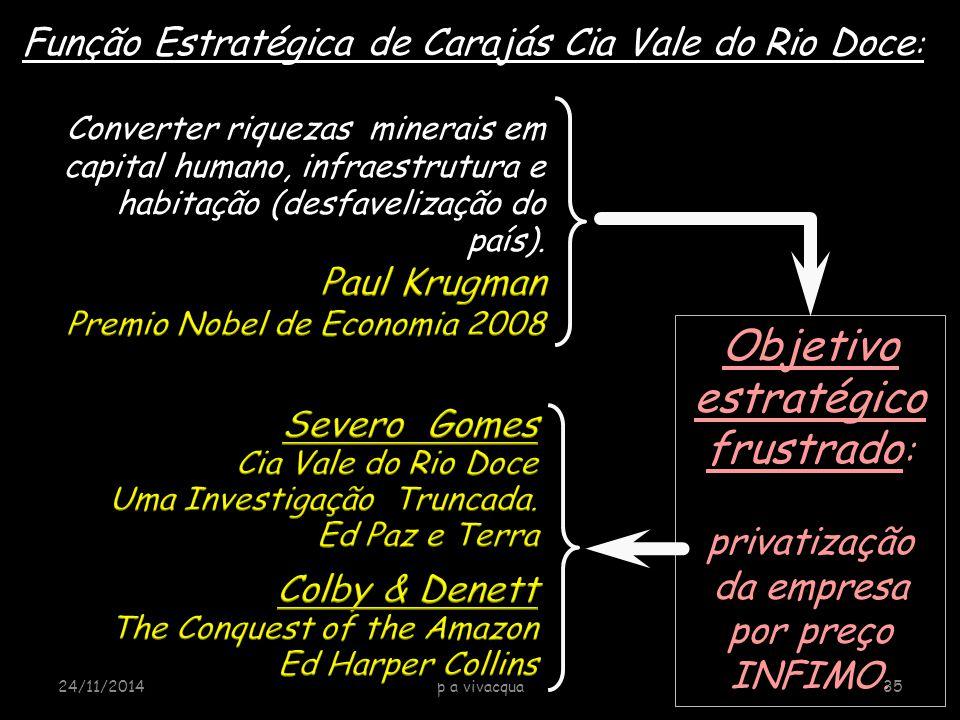 Objetivo estratégico frustrado : privatização da empresa por preço INFIMO. Função Estratégica de Carajás Cia Vale do Rio Doce : 24/11/2014p a vivacqua