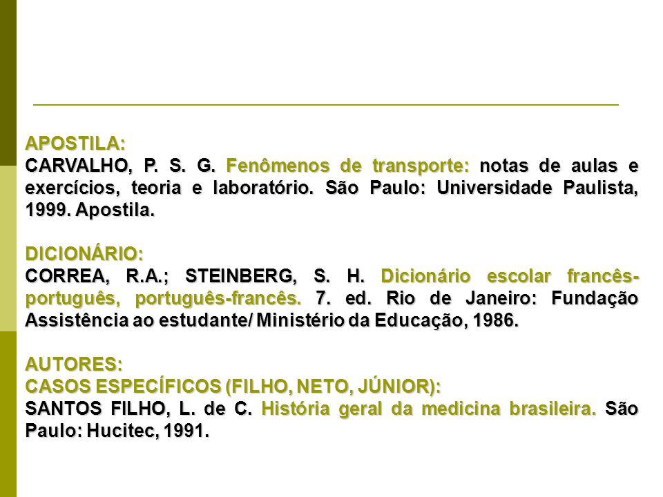 APOSTILA: CARVALHO, P. S. G. Fenômenos de transporte: notas de aulas e exercícios, teoria e laboratório. São Paulo: Universidade Paulista, 1999. Apost