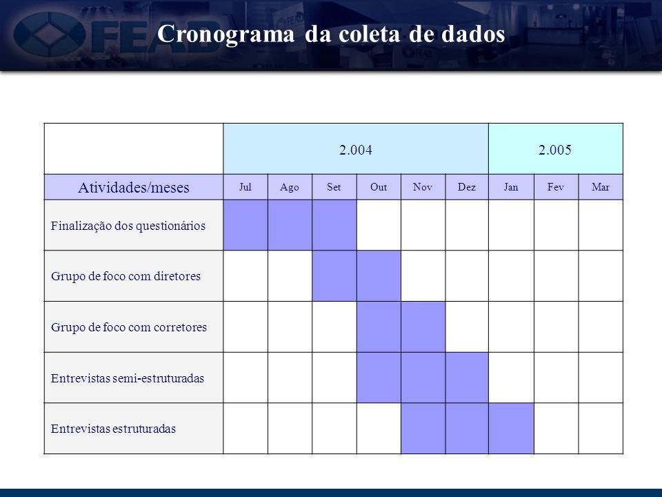 Cronograma da coleta de dados 2.0042.005 Atividades/meses JulAgoSetOutNovDezJanFevMar Finalização dos questionários Grupo de foco com diretores Grupo