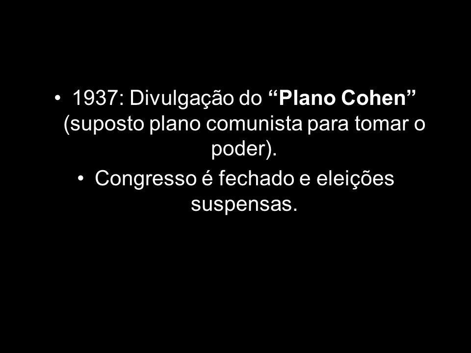 """1937: Divulgação do """"Plano Cohen"""" (suposto plano comunista para tomar o poder). Congresso é fechado e eleições suspensas."""