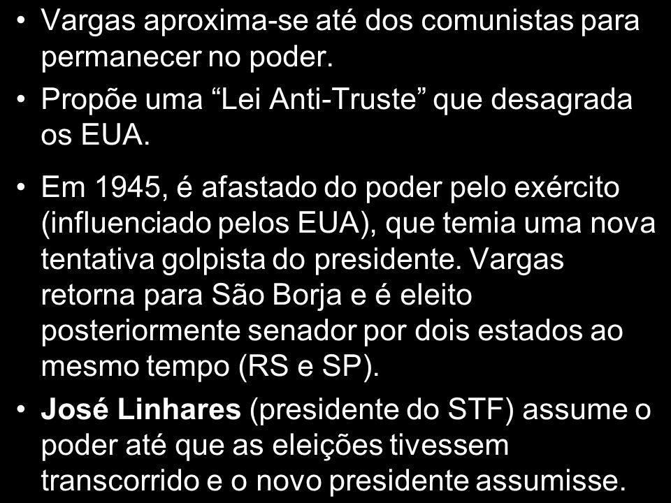 """Vargas aproxima-se até dos comunistas para permanecer no poder. Propõe uma """"Lei Anti-Truste"""" que desagrada os EUA. Em 1945, é afastado do poder pelo e"""