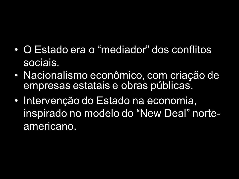 """O Estado era o """"mediador"""" dos conflitos sociais. Nacionalismo econômico, com criação de empresas estatais e obras públicas. Intervenção do Estado na e"""