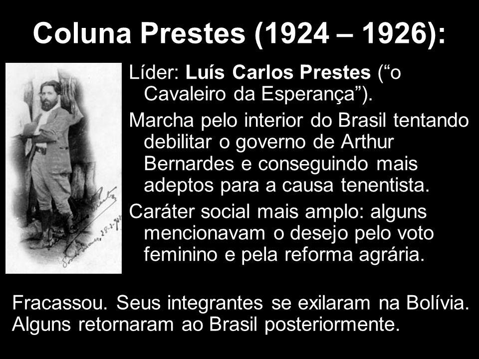 """Coluna Prestes (1924 – 1926): Líder: Luís Carlos Prestes (""""o Cavaleiro da Esperança""""). Marcha pelo interior do Brasil tentando debilitar o governo de"""