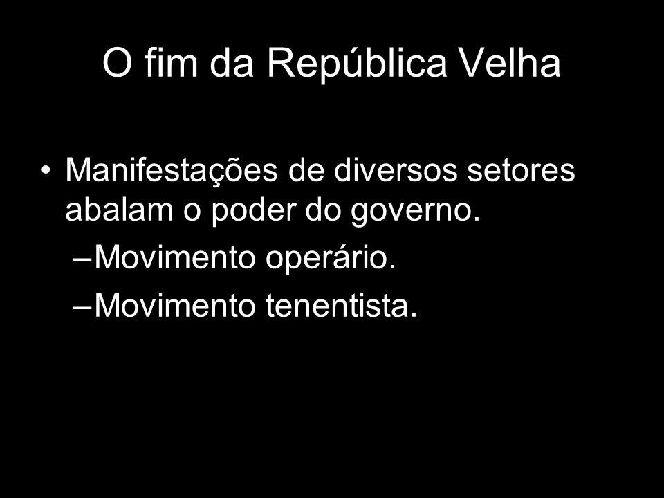 O fim da República Velha Manifestações de diversos setores abalam o poder do governo. –Movimento operário. –Movimento tenentista.