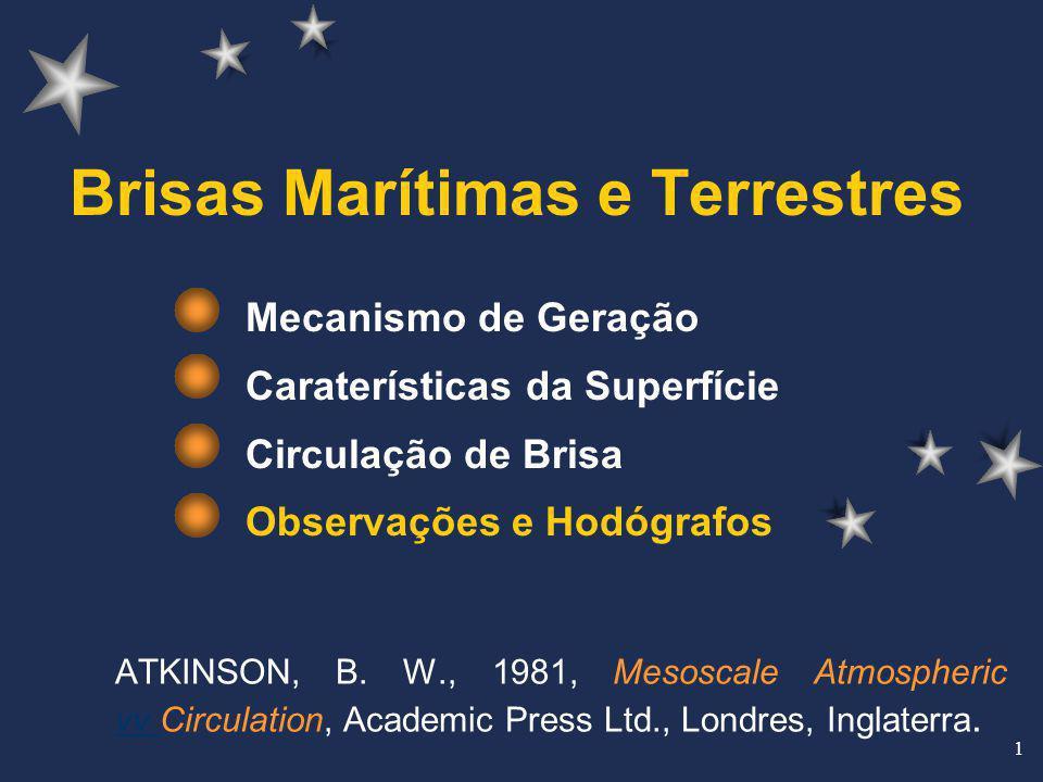 1 Brisas Marítimas e Terrestres Mecanismo de Geração Caraterísticas da Superfície Circulação de Brisa Observações e Hodógrafos ATKINSON, B. W., 1981,