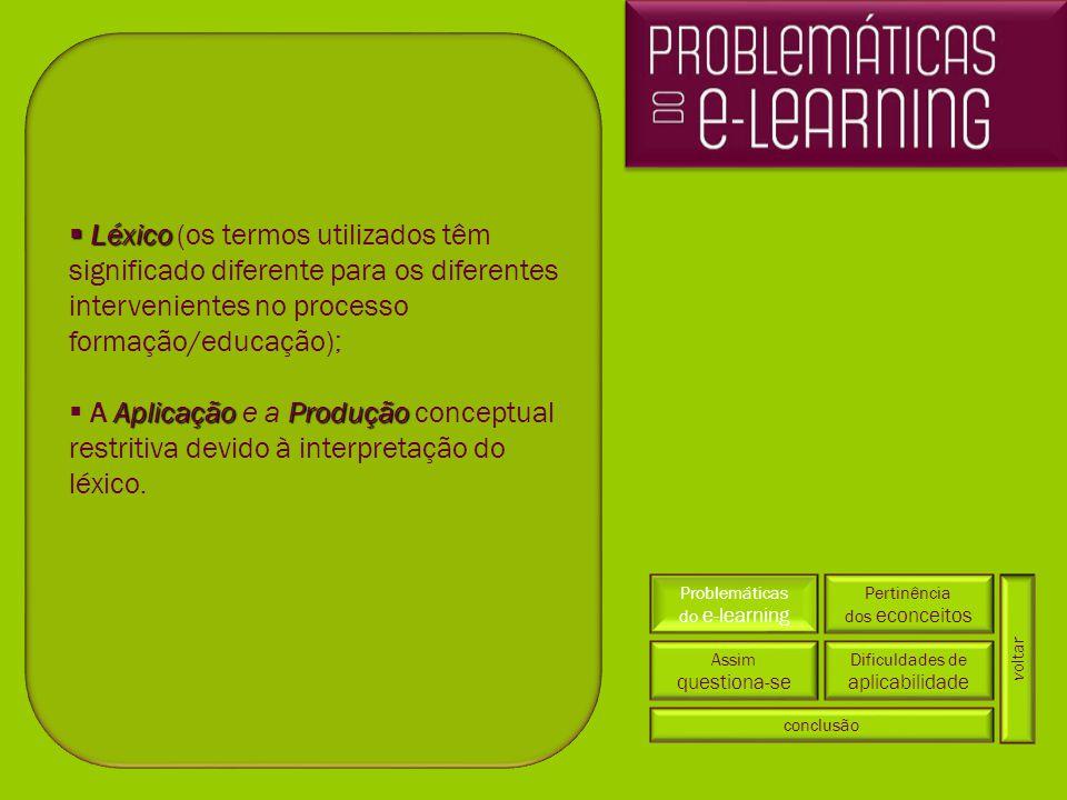 Problemáticas do e-learning Pertinência dos econceitos Dificuldades de aplicabilidade conclusão Assim questiona-se  Léxico  Léxico (os termos utiliz