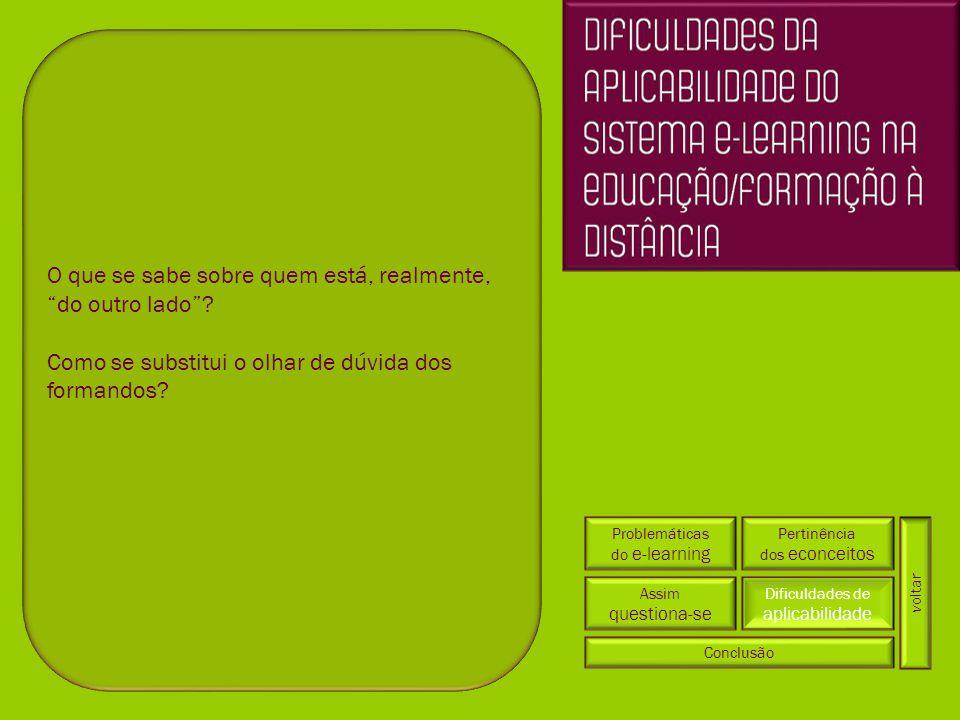 Problemáticas do e-learning Pertinência dos econceitos Dificuldades de aplicabilidade Conclusão Assim questiona-se voltar O que se sabe sobre quem est