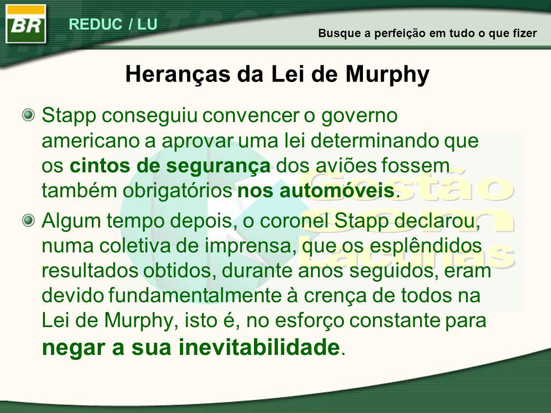 REDUC / LU Heranças da Lei de Murphy Stapp conseguiu convencer o governo americano a aprovar uma lei determinando que os cintos de segurança dos aviõe