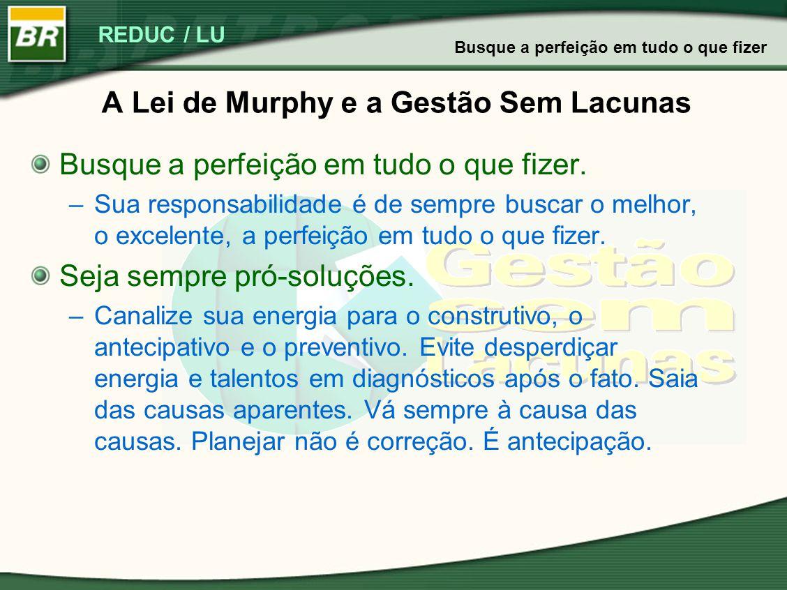 REDUC / LU A Lei de Murphy e a Gestão Sem Lacunas Busque a perfeição em tudo o que fizer. –Sua responsabilidade é de sempre buscar o melhor, o excelen