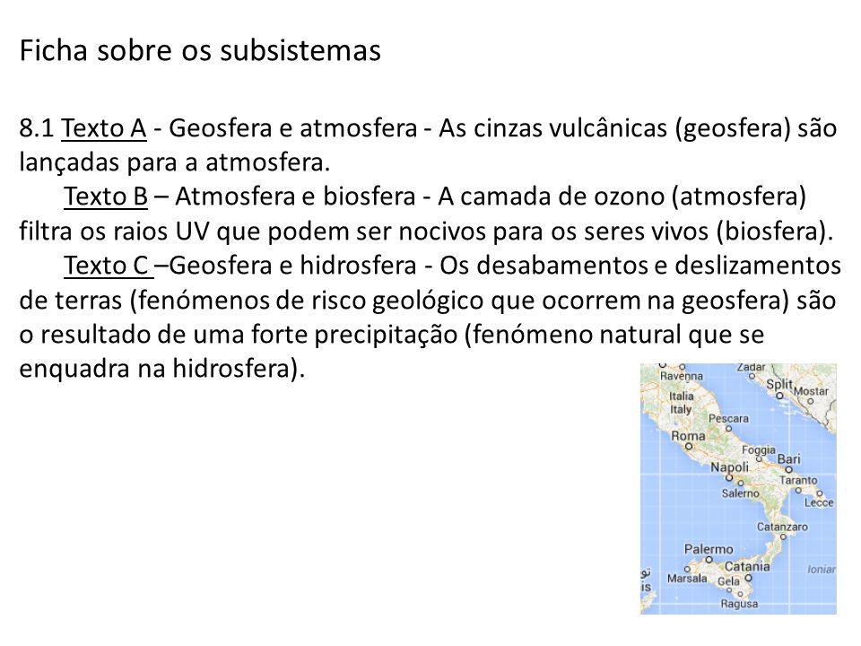 Ficha sobre os subsistemas 8.1 Texto A - Geosfera e atmosfera - As cinzas vulcânicas (geosfera) são lançadas para a atmosfera. Texto B – Atmosfera e b