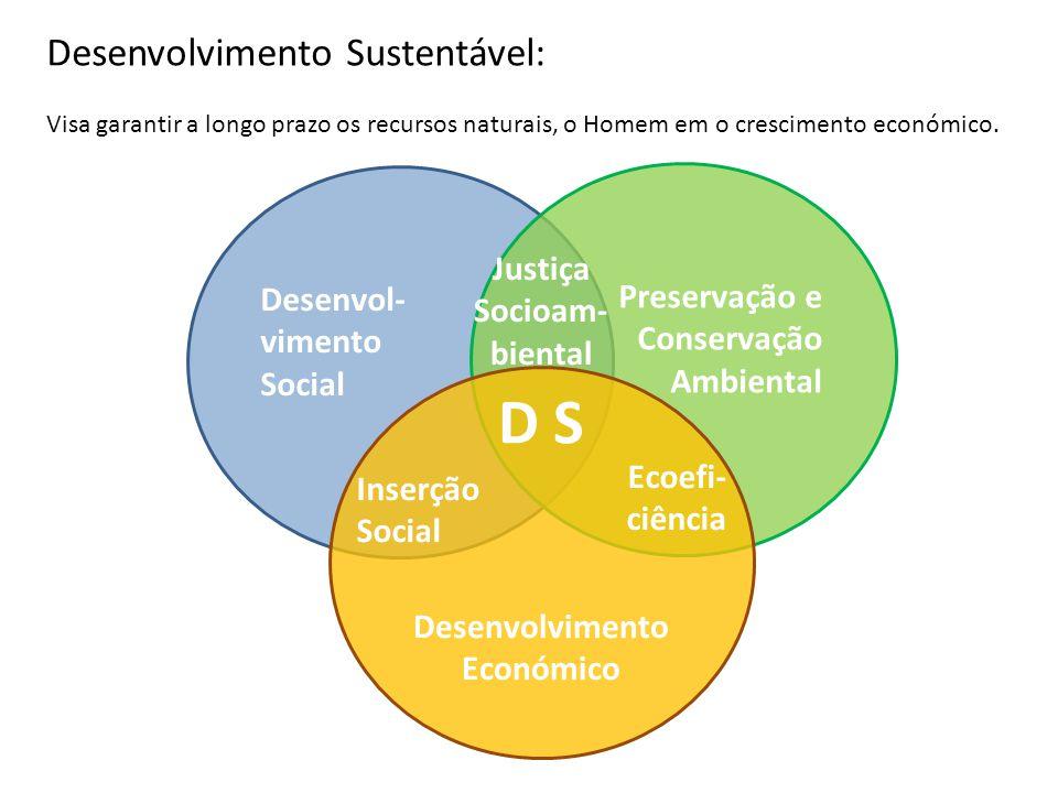 Desenvol- vimento Social Preservação e Conservação Ambiental Desenvolvimento Económico D S Inserção Social Ecoefi- ciência Justiça Socioam- biental De