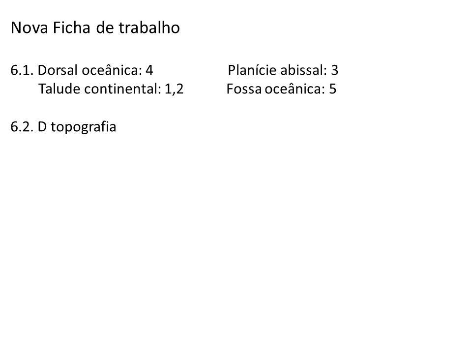 Nova Ficha de trabalho 6.1. Dorsal oceânica: 4 Planície abissal: 3 Talude continental: 1,2 Fossa oceânica: 5 6.2. D topografia