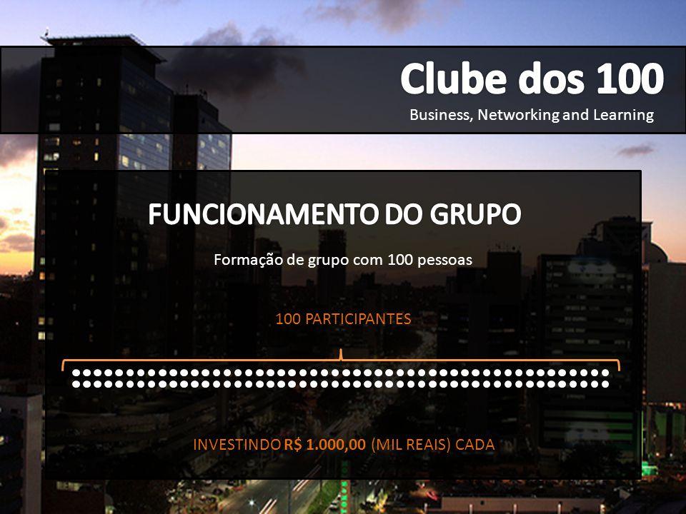 Business, Networking and Learning R$ 100.000,00 (CEM MIL REIAS) (CAPITAL GERADO) Formação de grupo com 100 pessoas 100 PARTICIPANTES