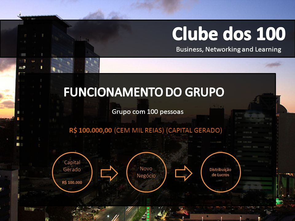 Business, Networking and Learning R$ 100.000,00 (CEM MIL REIAS) (CAPITAL GERADO) Grupo com 100 pessoas Capital Gerado R$ 100.000 Novo Negócio Distribu