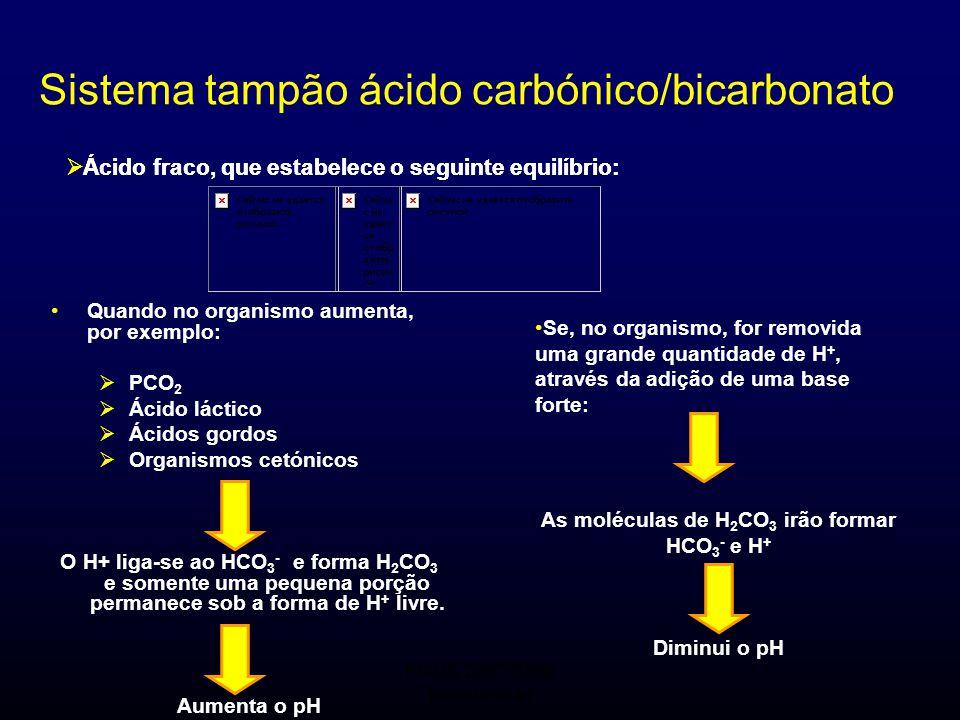 FMUC 2007/2008 Bioquímica I Sistema tampão ácido carbónico/bicarbonato Quando no organismo aumenta, por exemplo:  PCO 2  Ácido láctico  Ácidos gord