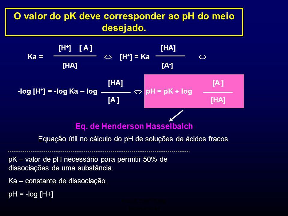 FMUC 2007/2008 Bioquímica I pK – valor de pH necessário para permitir 50% de dissociações de uma substância. Ka – constante de dissociação. pH = -log