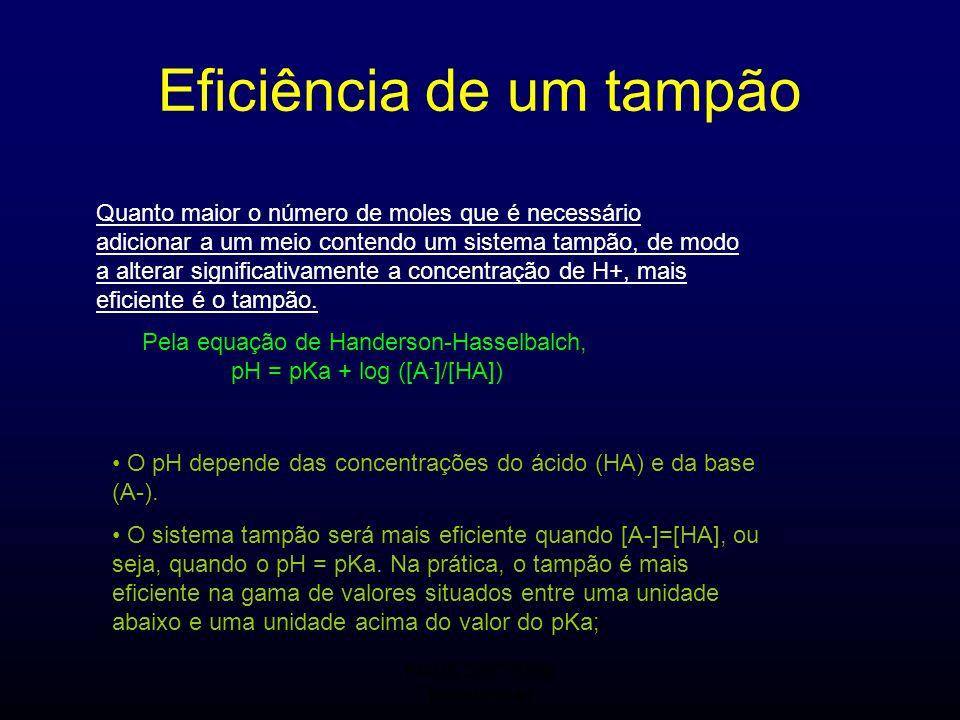 FMUC 2007/2008 Bioquímica I Pela equação de Handerson-Hasselbalch, pH = pKa + log ([A - ]/[HA]) Eficiência de um tampão Quanto maior o número de moles