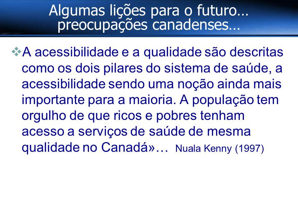 Algumas lições para o futuro… preocupações canadenses…  A acessibilidade e a qualidade são descritas como os dois pilares do sistema de saúde, a acessibilidade sendo uma noção ainda mais importante para a maioria.