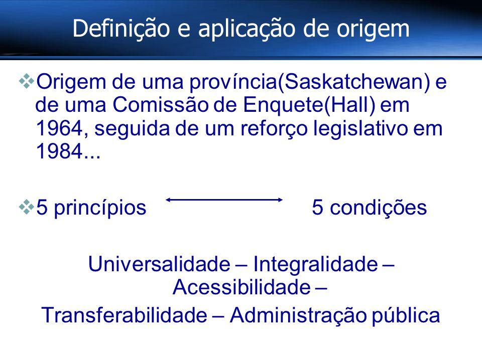 Definição e aplicação de origem  Origem de uma província(Saskatchewan) e de uma Comissão de Enquete(Hall) em 1964, seguida de um reforço legislativo em 1984...