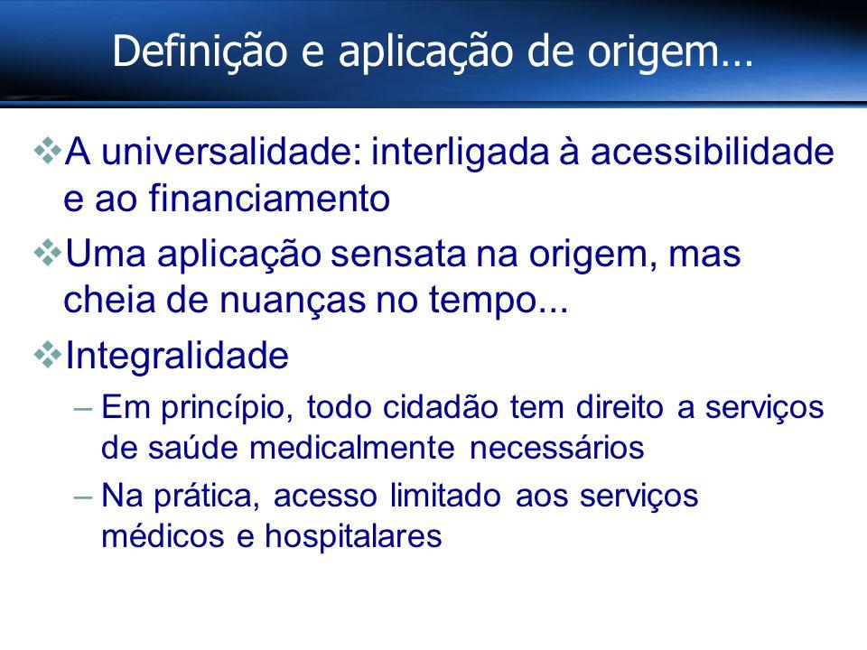 Definição e aplicação de origem…  A universalidade: interligada à acessibilidade e ao financiamento  Uma aplicação sensata na origem, mas cheia de nuanças no tempo...