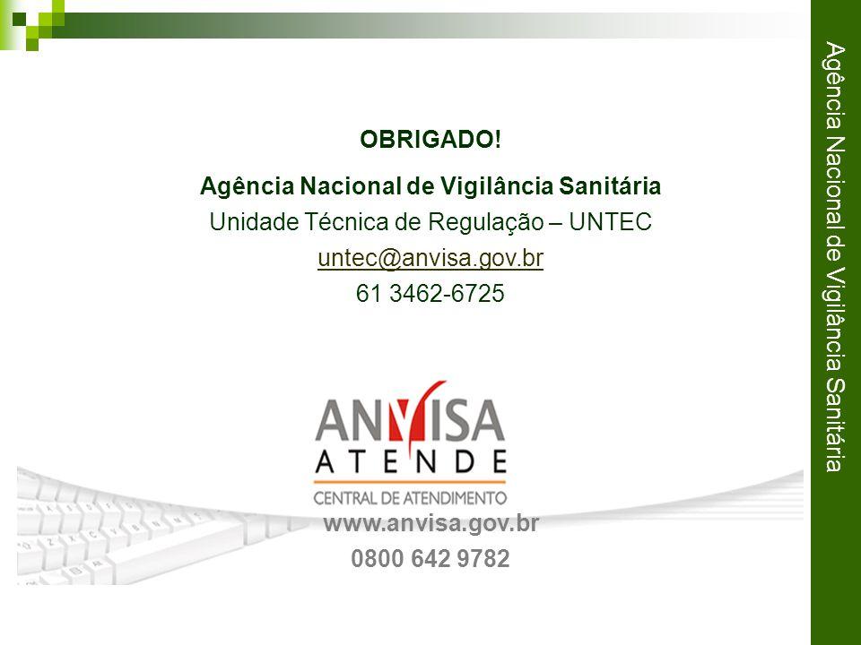 Agência Nacional de Vigilância Sanitária OBRIGADO.