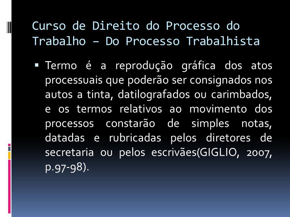 Curso de Direito do Processo do Trabalho – Do Processo Trabalhista  Termo é a reprodução gráfica dos atos processuais que poderão ser consignados nos