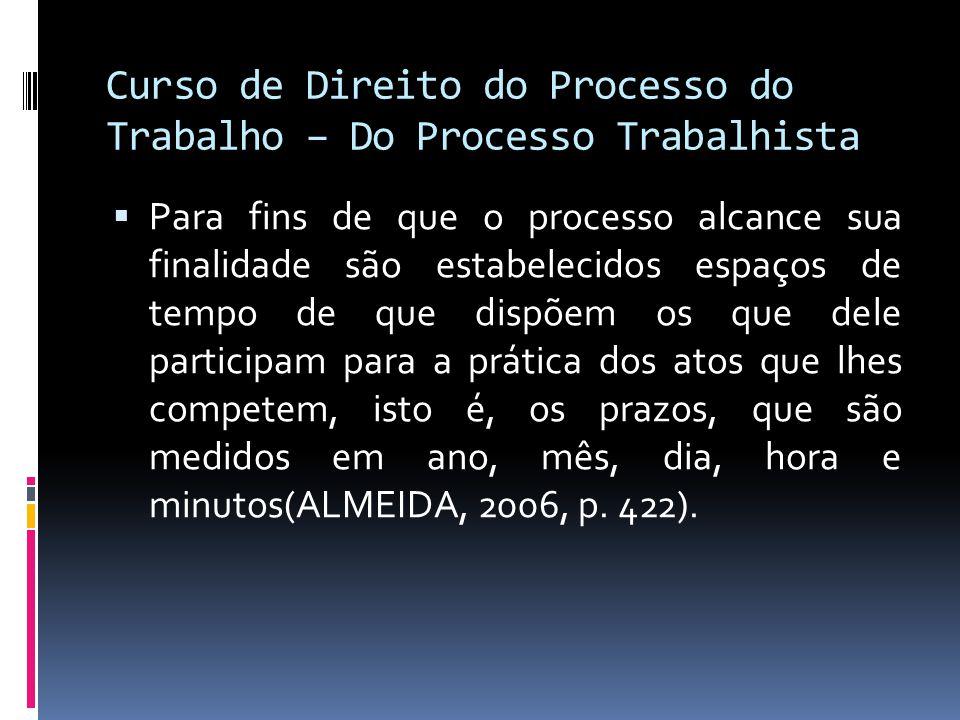 Curso de Direito do Processo do Trabalho – Do Processo Trabalhista  Para fins de que o processo alcance sua finalidade são estabelecidos espaços de t