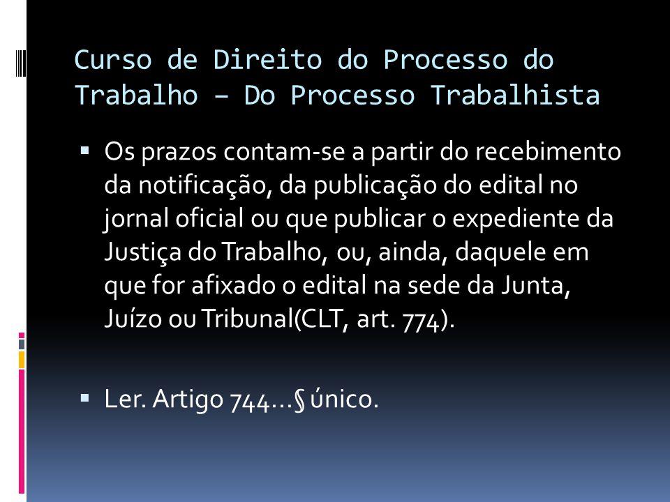 Curso de Direito do Processo do Trabalho – Do Processo Trabalhista  Os prazos contam-se a partir do recebimento da notificação, da publicação do edit