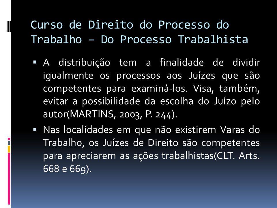Curso de Direito do Processo do Trabalho – Do Processo Trabalhista  A distribuição tem a finalidade de dividir igualmente os processos aos Juízes que