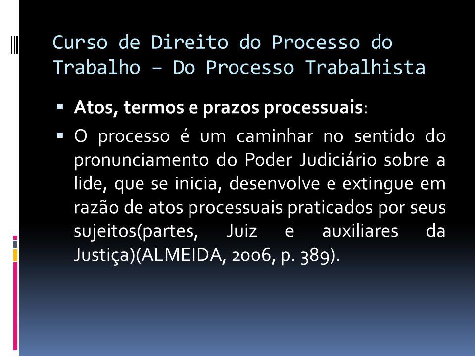 Curso de Direito do Processo do Trabalho – Do Processo Trabalhista  Atos, termos e prazos processuais:  O processo é um caminhar no sentido do pronu