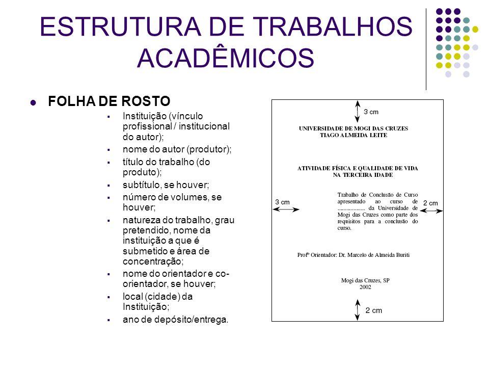 ESTRUTURA DE TRABALHOS ACADÊMICOS FOLHA DE ROSTO  Instituição (vínculo profissional / institucional do autor);  nome do autor (produtor);  título d