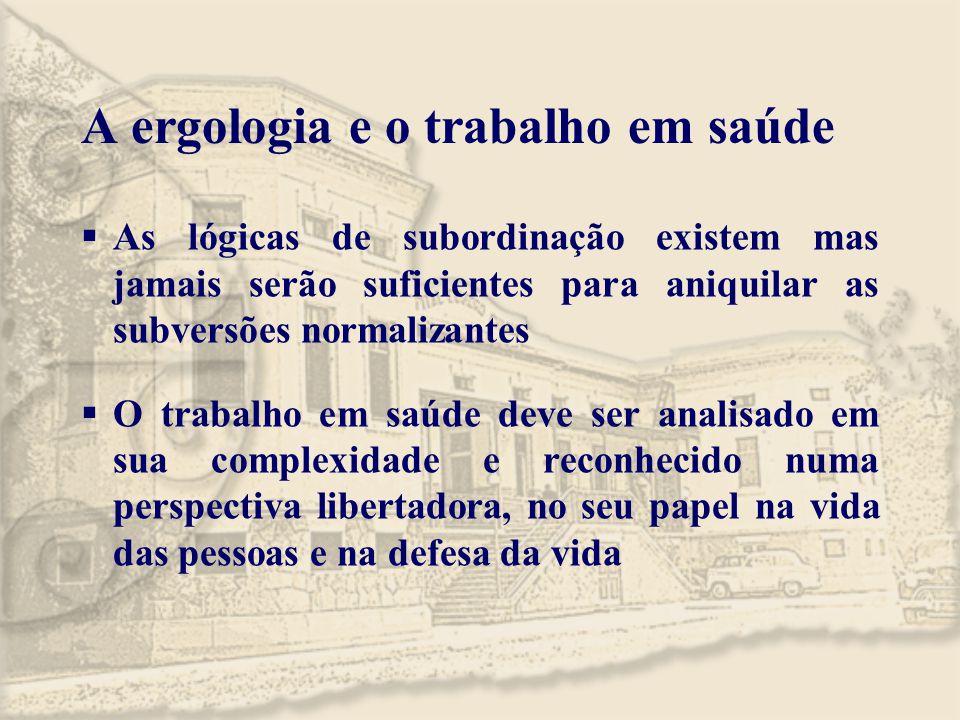 A ergologia e o trabalho em saúde  As lógicas de subordinação existem mas jamais serão suficientes para aniquilar as subversões normalizantes  O tra
