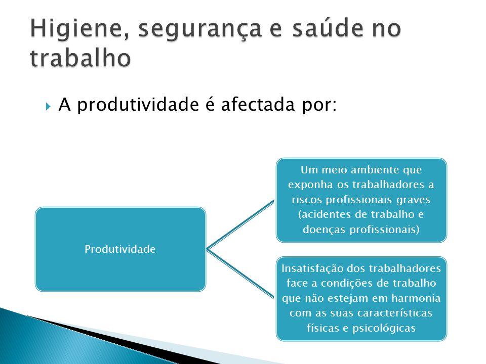 A produtividade é afectada por: Produtividade Um meio ambiente que exponha os trabalhadores a riscos profissionais graves (acidentes de trabalho e d