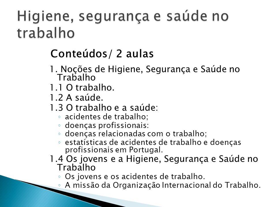 1. Noções de Higiene, Segurança e Saúde no Trabalho 1.1 O trabalho. 1.2 A saúde. 1.3 O trabalho e a saúde: ◦ acidentes de trabalho; ◦ doenças profissi