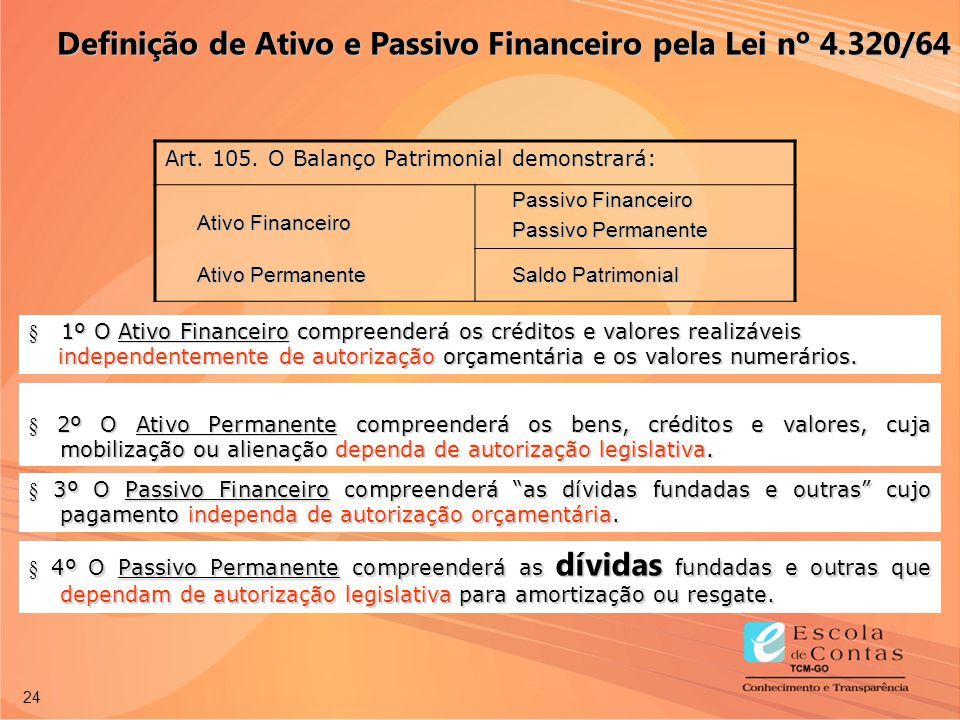 24 § 1º O Ativo Financeiro compreenderá os créditos e valores realizáveis independentemente de autorização orçamentária e os valores numerários. indep