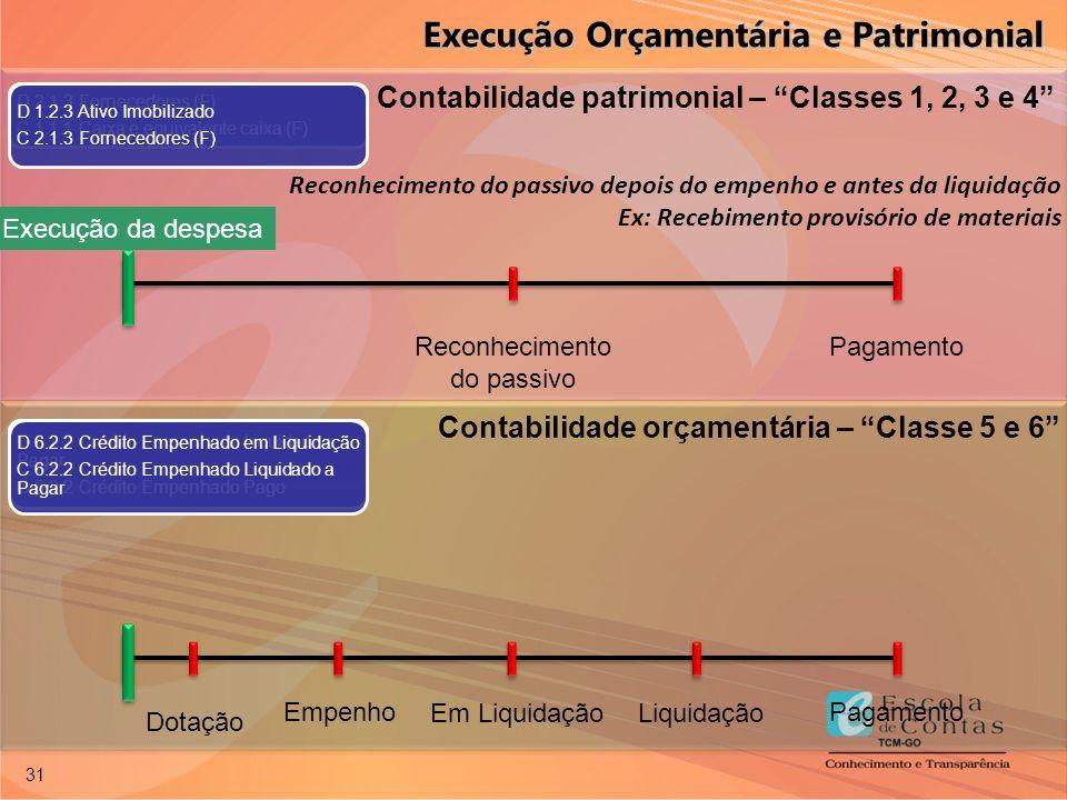 """31 Reconhecimento do passivo depois do empenho e antes da liquidação Ex: Recebimento provisório de materiais Contabilidade patrimonial – """"Classes 1, 2"""