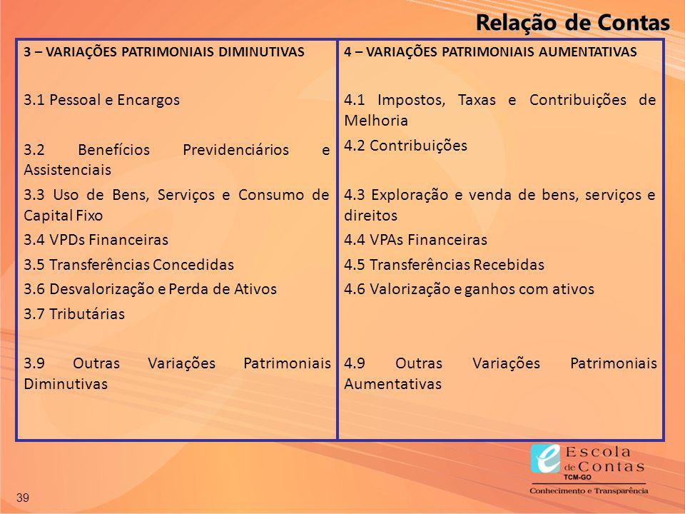 39 3 – VARIAÇÕES PATRIMONIAIS DIMINUTIVAS 3.1 Pessoal e Encargos 3.2 Benefícios Previdenciários e Assistenciais 3.3 Uso de Bens, Serviços e Consumo de