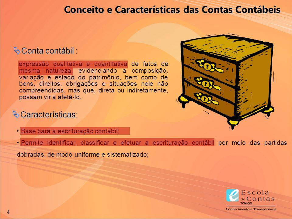 4 Base para a escrituração contábil; Permite identificar, classificar e efetuar a escrituração contábil por meio das partidas dobradas, de modo unifor