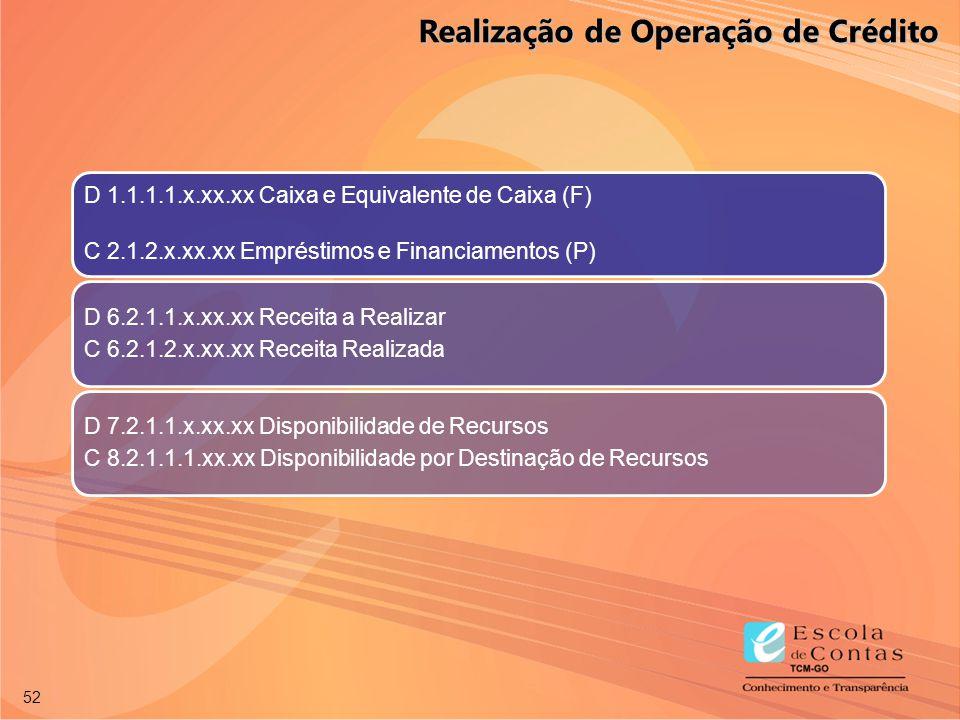 52 D 1.1.1.1.x.xx.xx Caixa e Equivalente de Caixa (F) C 2.1.2.x.xx.xx Empréstimos e Financiamentos (P) D 6.2.1.1.x.xx.xx Receita a Realizar C 6.2.1.2.