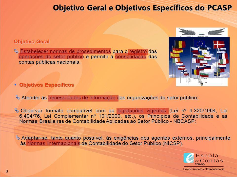 6 Objetivos Específicos Objetivos Específicos Objetivo Geral  Estabelecer normas de procedimentos para o registro das operações do setor público e pe