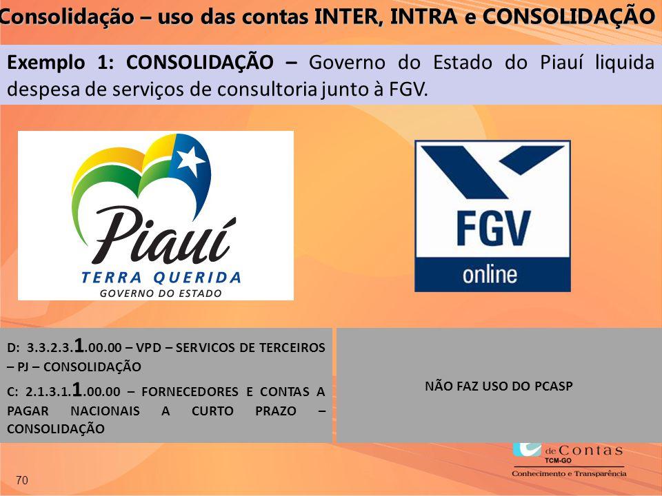 70 Exemplo 1: CONSOLIDAÇÃO – Governo do Estado do Piauí liquida despesa de serviços de consultoria junto à FGV. D: 3.3.2.3. 1.00.00 – VPD – SERVICOS D