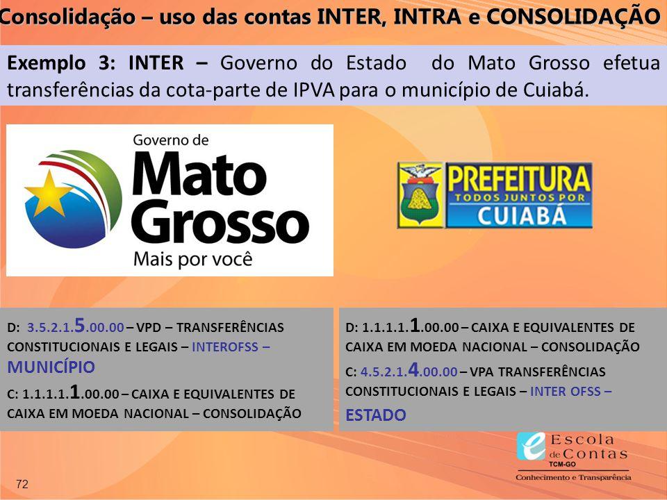 72 Exemplo 3: INTER – Governo do Estado do Mato Grosso efetua transferências da cota-parte de IPVA para o município de Cuiabá. D: 3.5.2.1. 5.00.00 – V