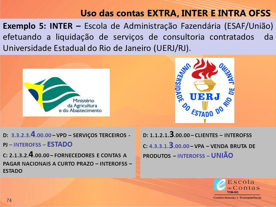74 Uso das contas EXTRA, INTER E INTRA OFSS Exemplo 5: INTER – Escola de Administração Fazendária (ESAF/União) efetuando a liquidação de serviços de c