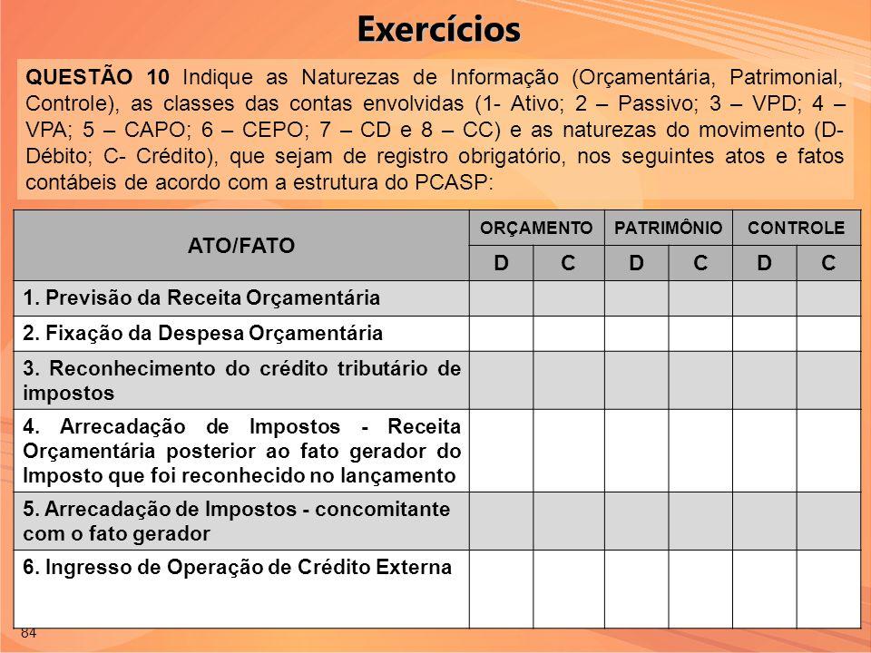 84 QUESTÃO 10 Indique as Naturezas de Informação (Orçamentária, Patrimonial, Controle), as classes das contas envolvidas (1- Ativo; 2 – Passivo; 3 – V